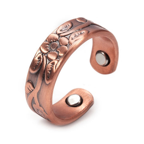 Flower Classic Design Pure Copper Magnetic Ring