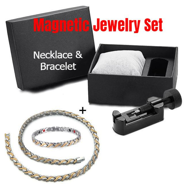 [BEST DEAL] Magnetic Jewelry Set - Fashionable Leaf Design Magnetic Necklace and Bracelet