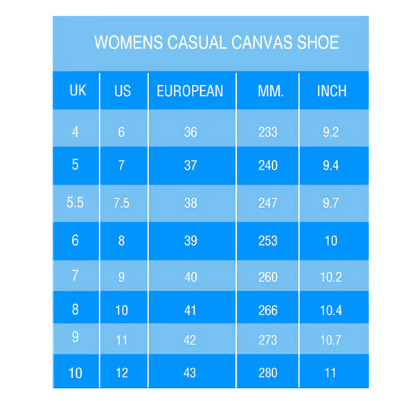 Casual Shoes Size Chart