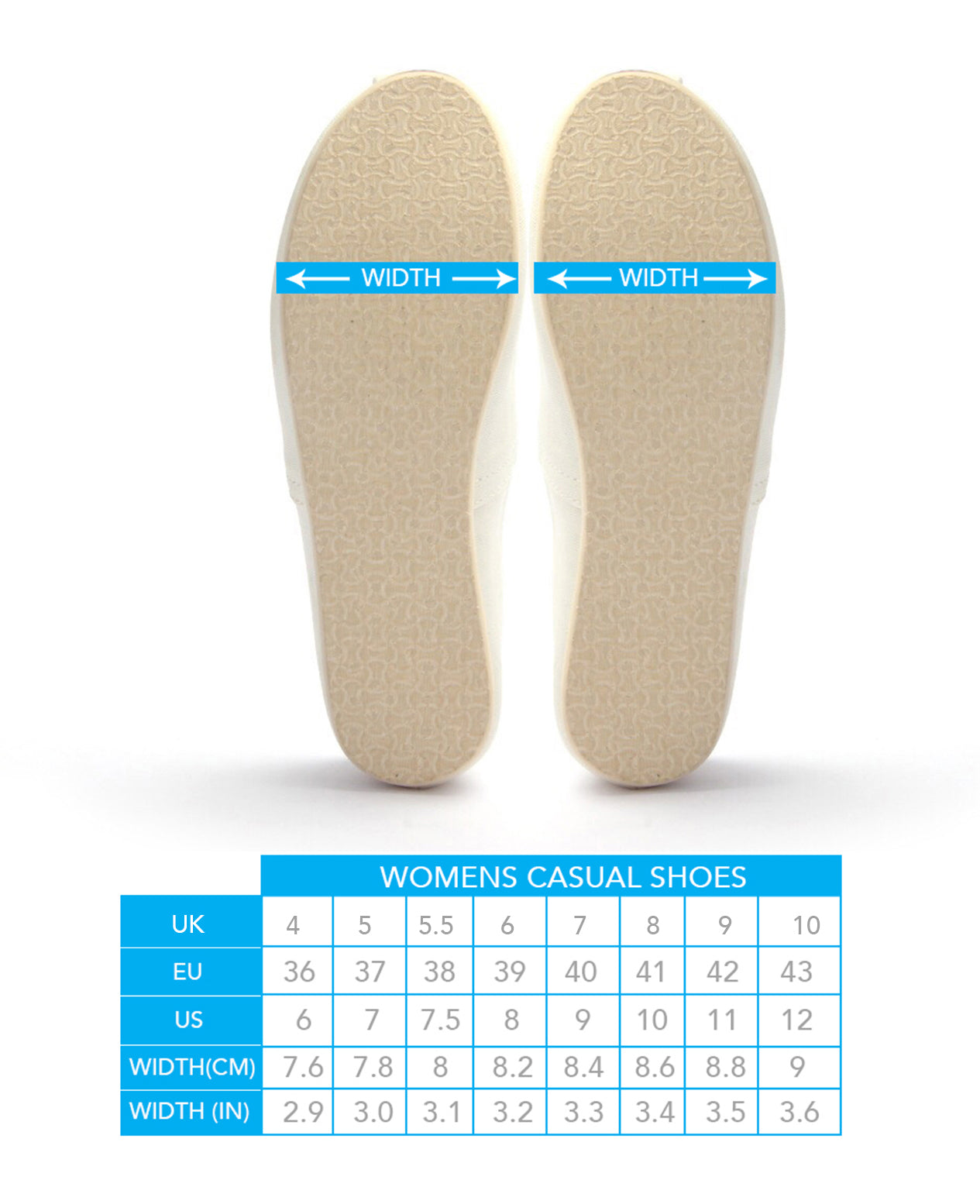 Casual Shoes Size Guide