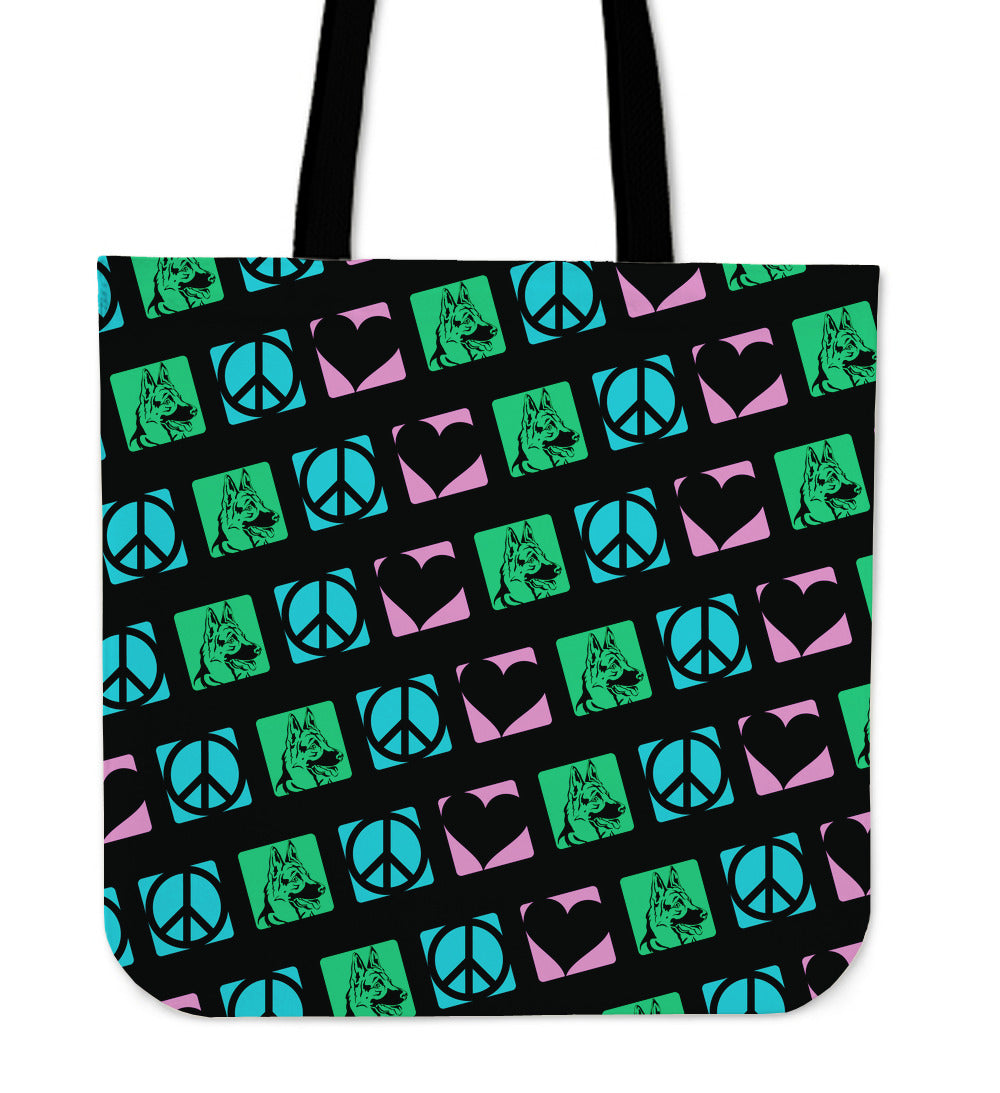 Peace Love German Shepherds Tote Bag