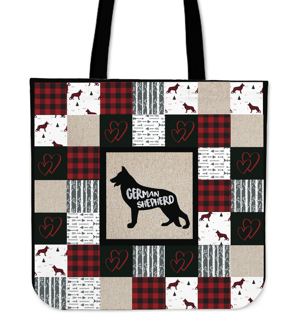 Woodland Patchwork German Shepherd Tote Bag