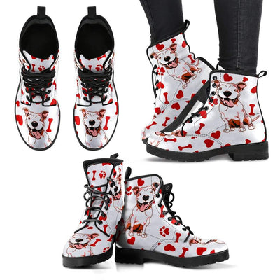 Cute Pitbull Love Women's Leather Boots - KiwiLou