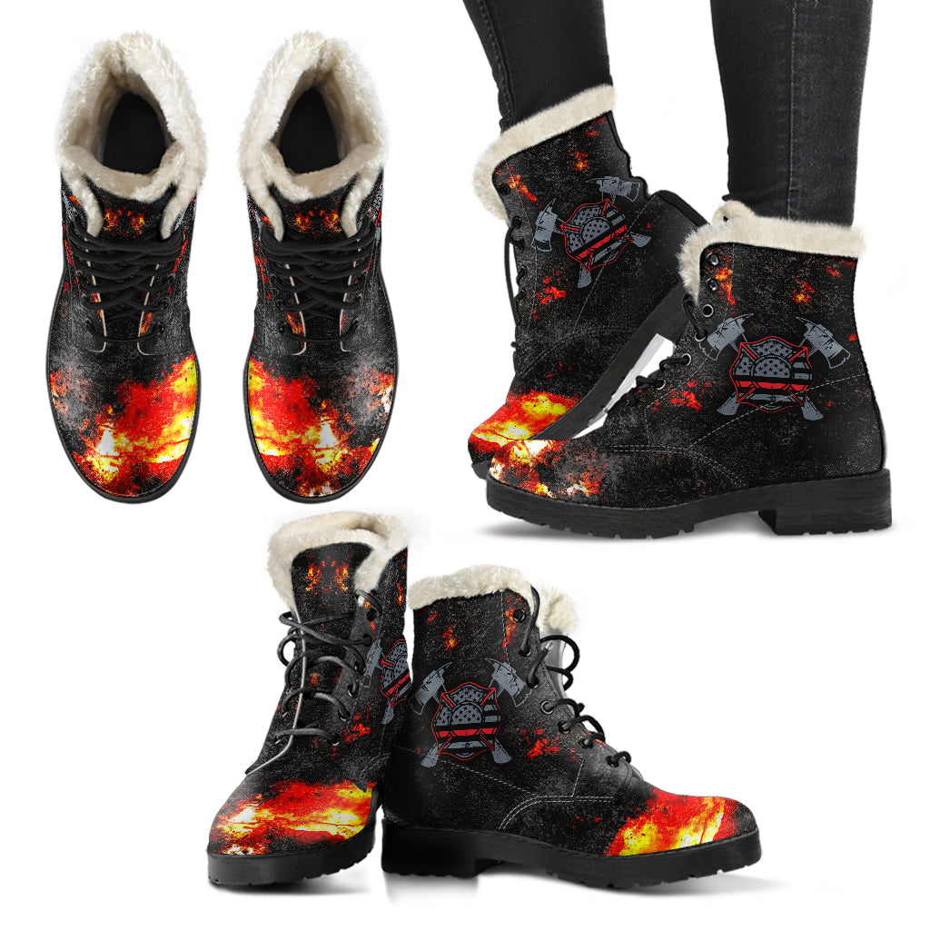 American Firefighter Mens Faux Fur Leather Boots - firefighter bestseller