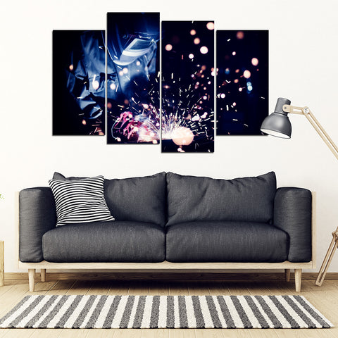 Welding Sparks 4 Piece Framed Canvas