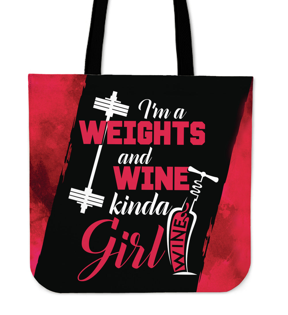 Weights and Wine Girl Tote Bag