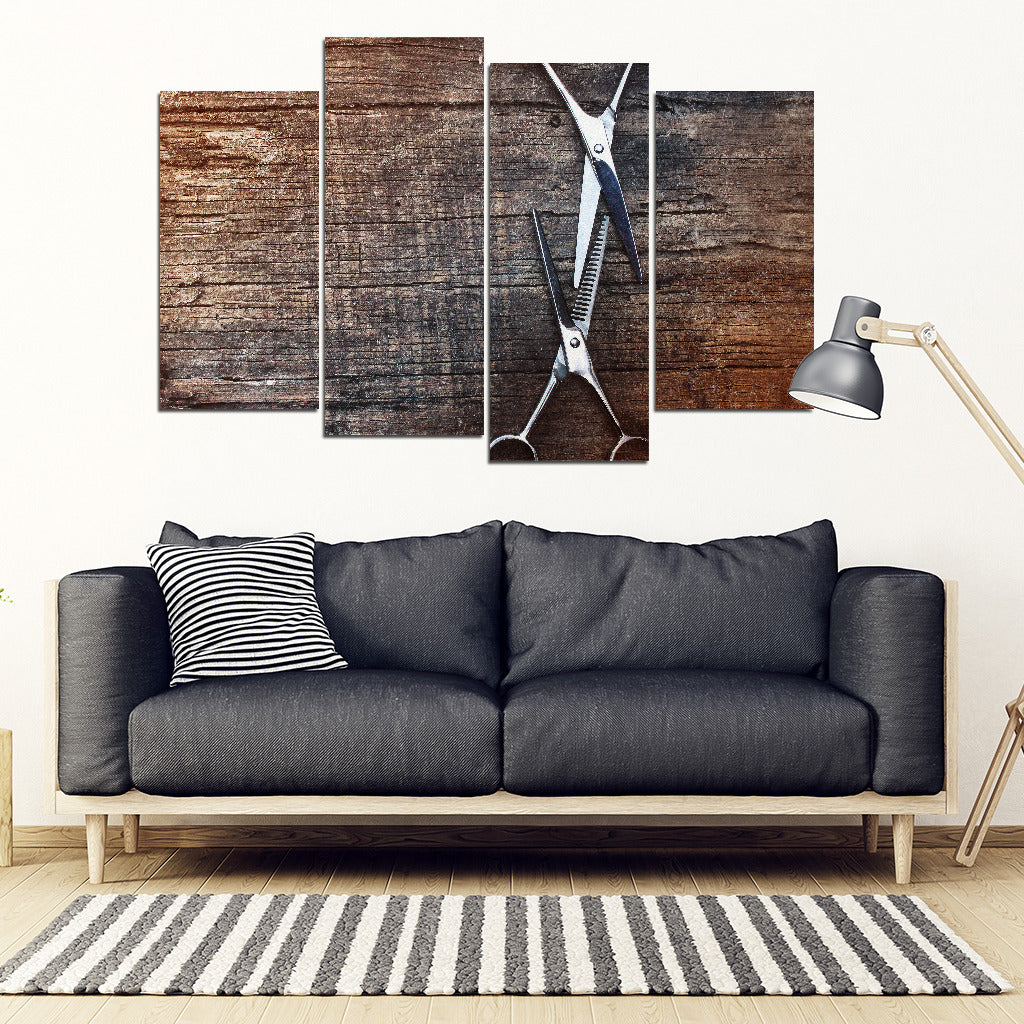 Rustic Shears 4 Piece Framed Canvas - Hairstylist Bestseller