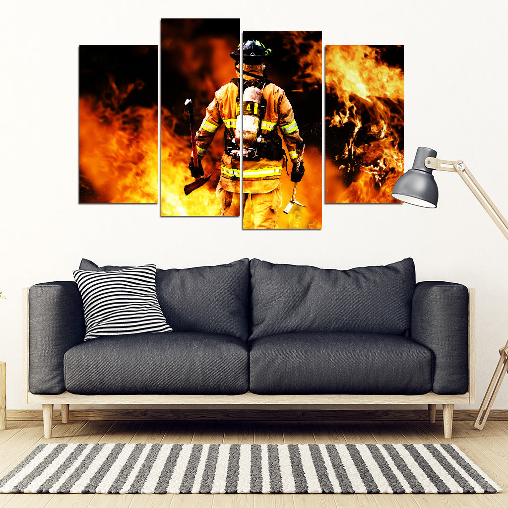 Firefighter 4 Piece Framed Canvas