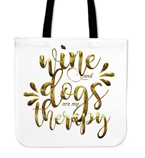 Wine and Dogs Blue Tote bag