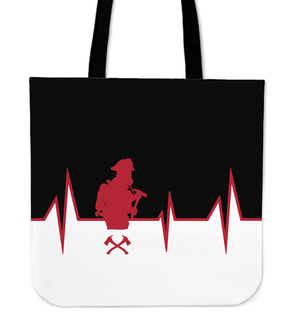 Firefighter Heartbeat Tote Bag