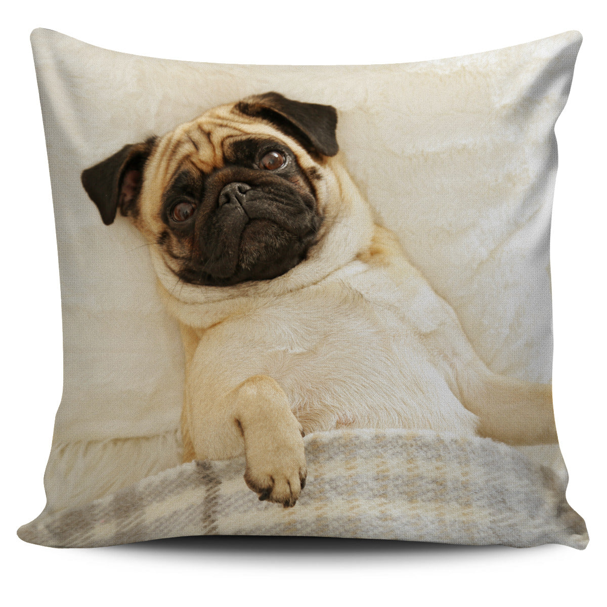 Sleepy Pug Pillow Cover