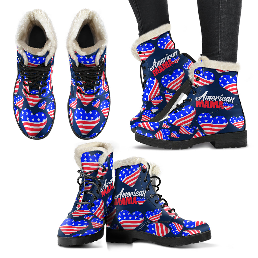 American Mama Faux Fur Leather Boots