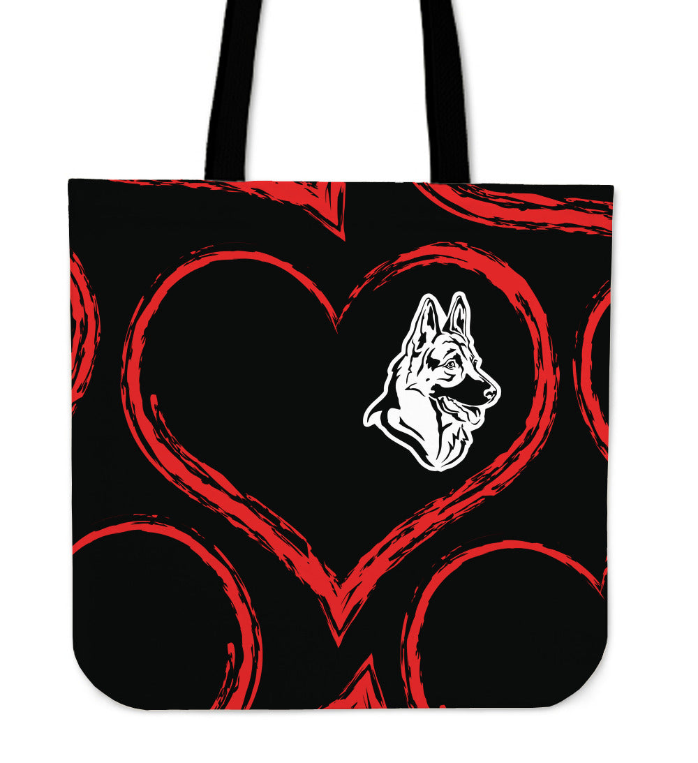 German Shepherd Heart Tote Bag