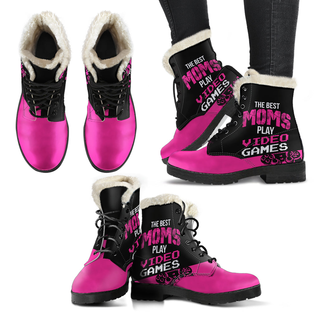 Best Moms Play Video Games Faux Fur Leather Boots
