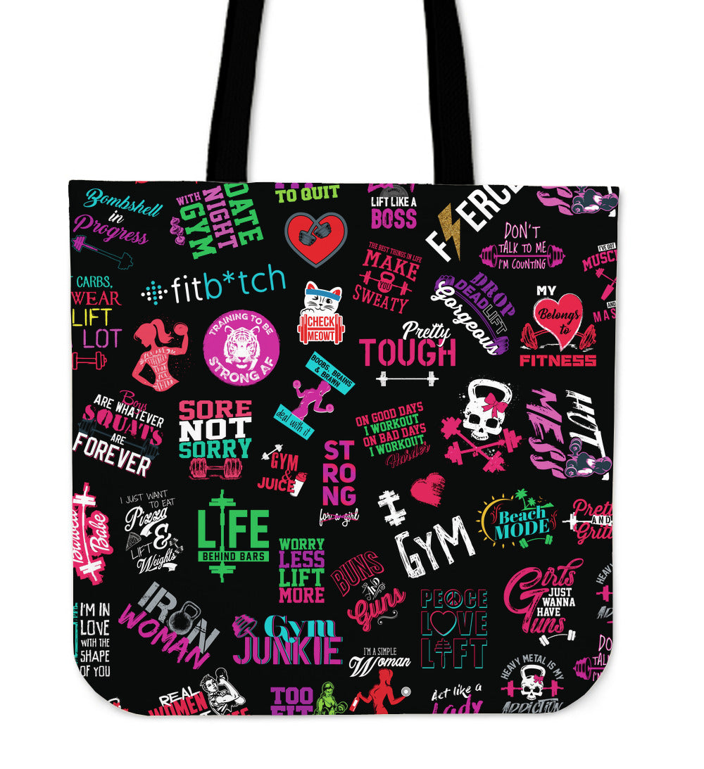 Women Gym Logos Tote Bag