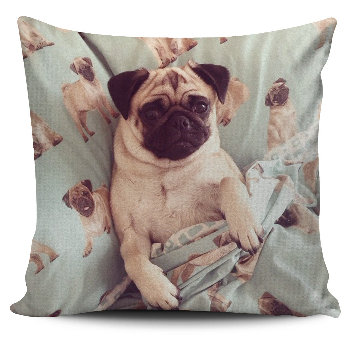 Pug In A Blanket Pillow Cover - pug bestseller
