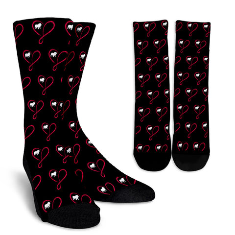 Love Infinity Bulldog Crew Socks