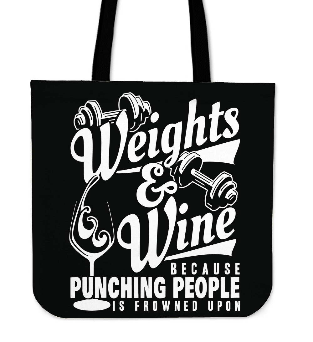 Weights and Wine Tote Bag