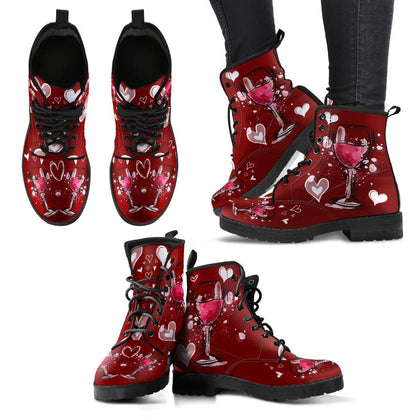 Women's Wine Leather Boots