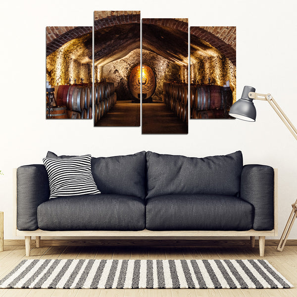 Barrels of Wine 4 Piece Framed Canvas