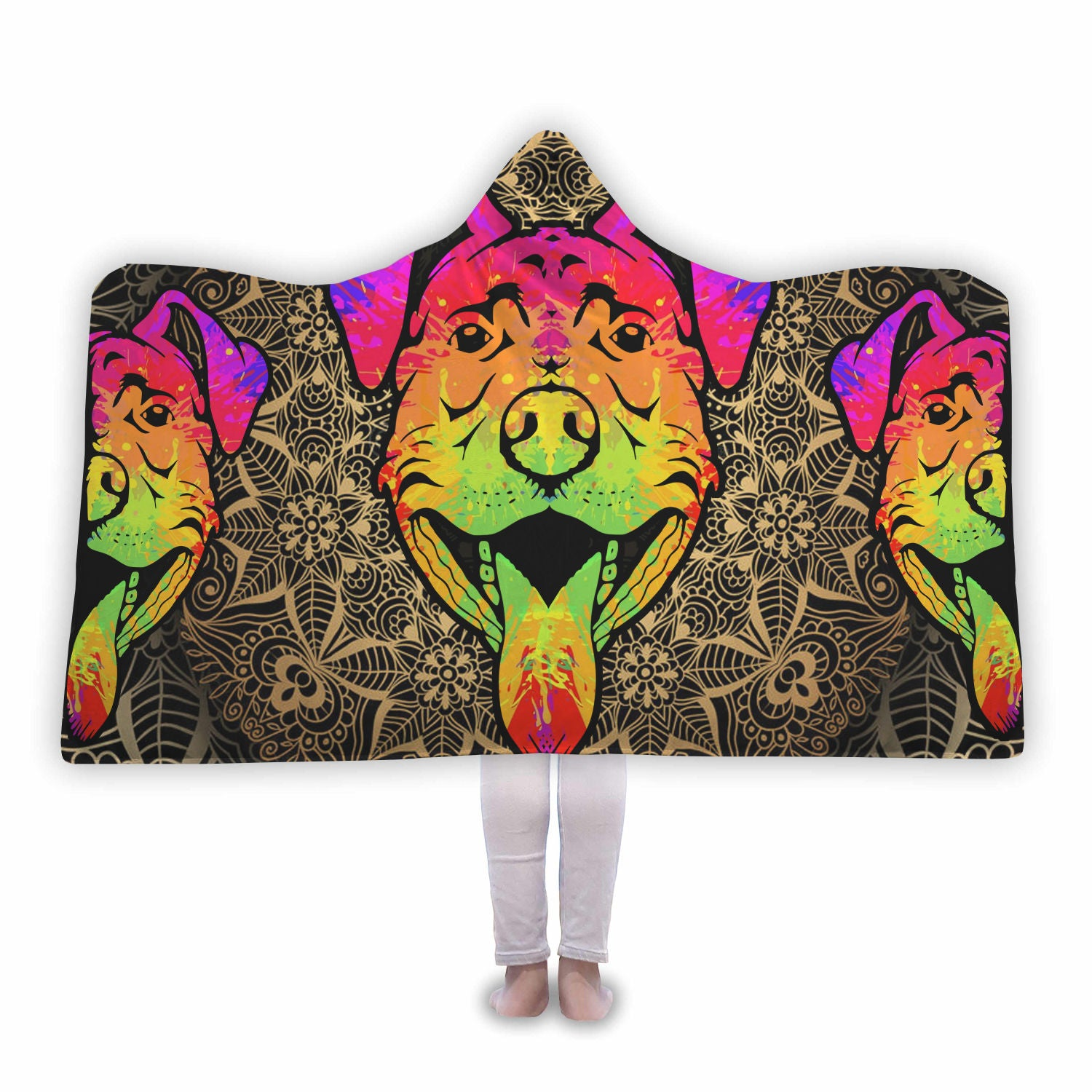 Pitbull Face Cool Hooded Blanket