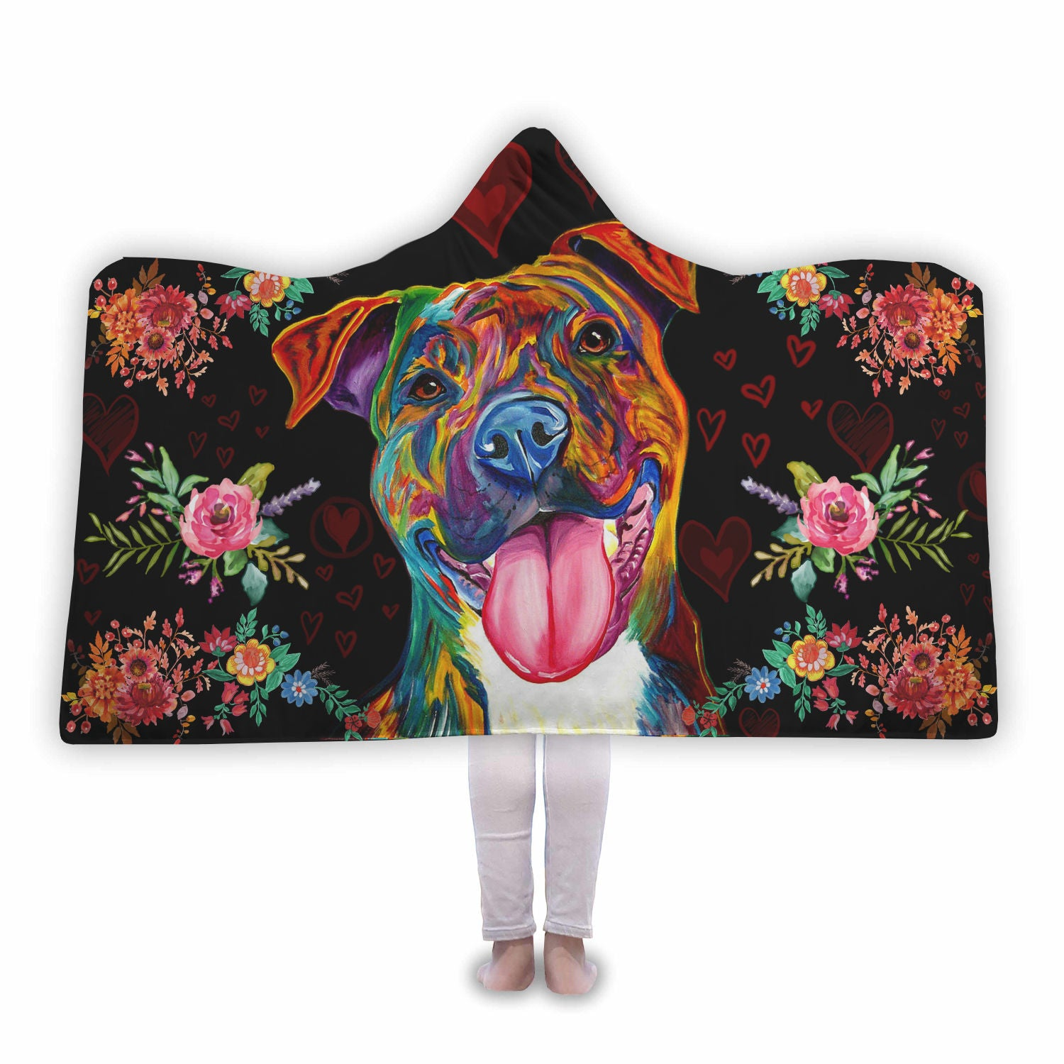 Colourful Pitbull Hooded Blanket