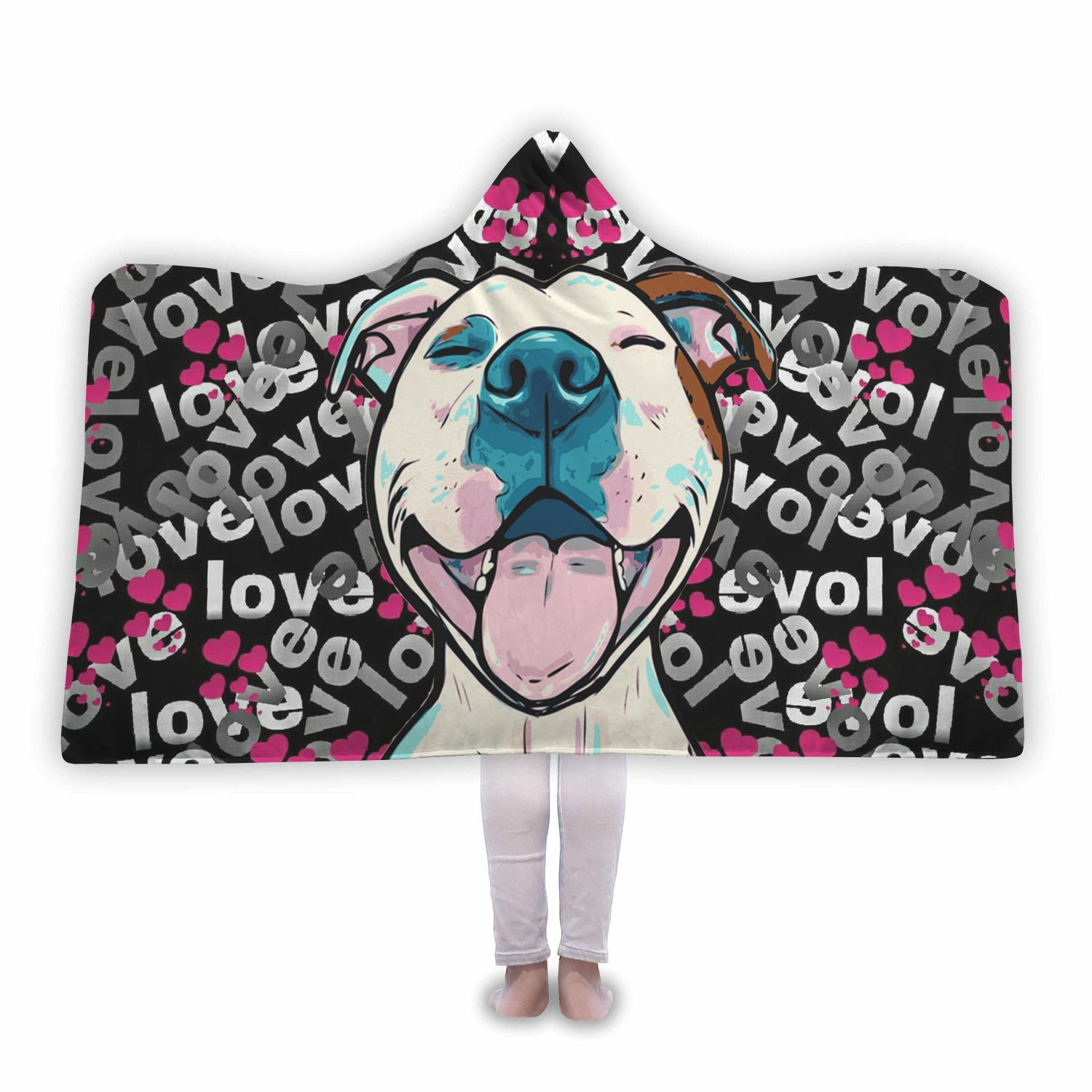 Colourful Pitbull Love Hooded Blanket
