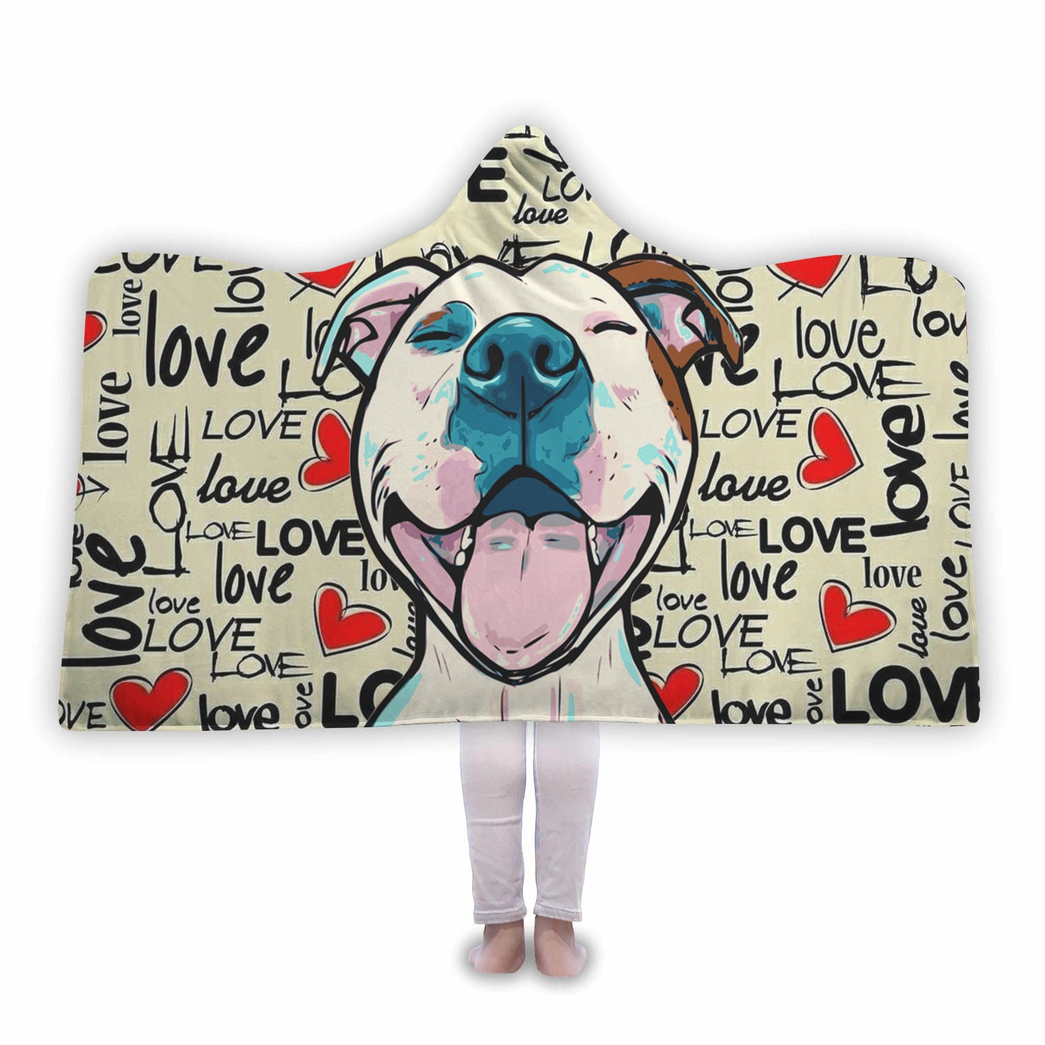 Smiling Pitbull Love Hooded Blanket