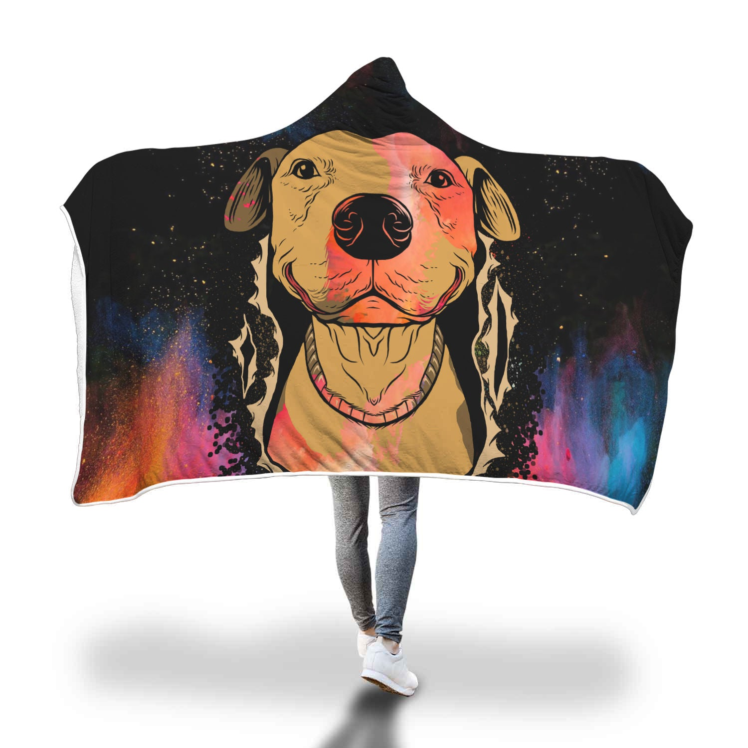 Pitbull Abstract Hooded Blanket