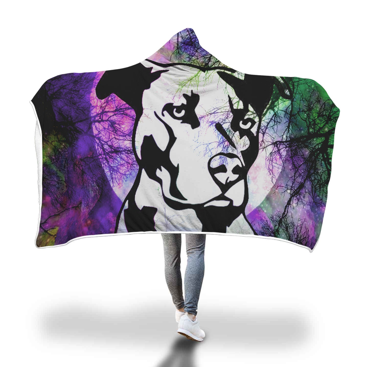 Pitbull Dark Hooded Blanket