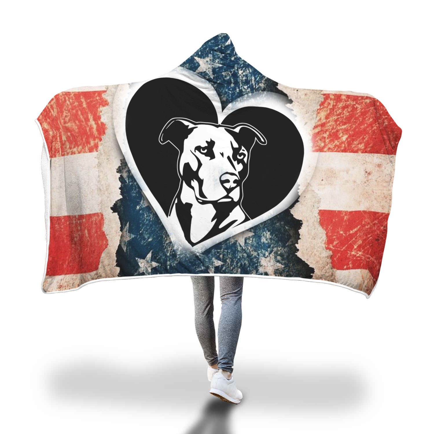 American Love Pitbull Hooded Blanket