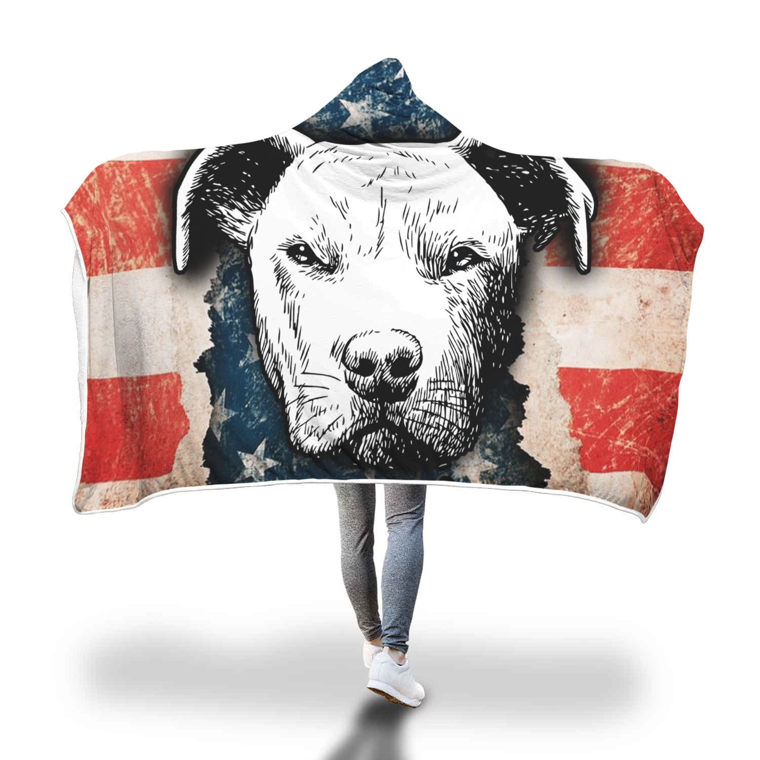 Pitbull Face American Flag Hooded Blanket