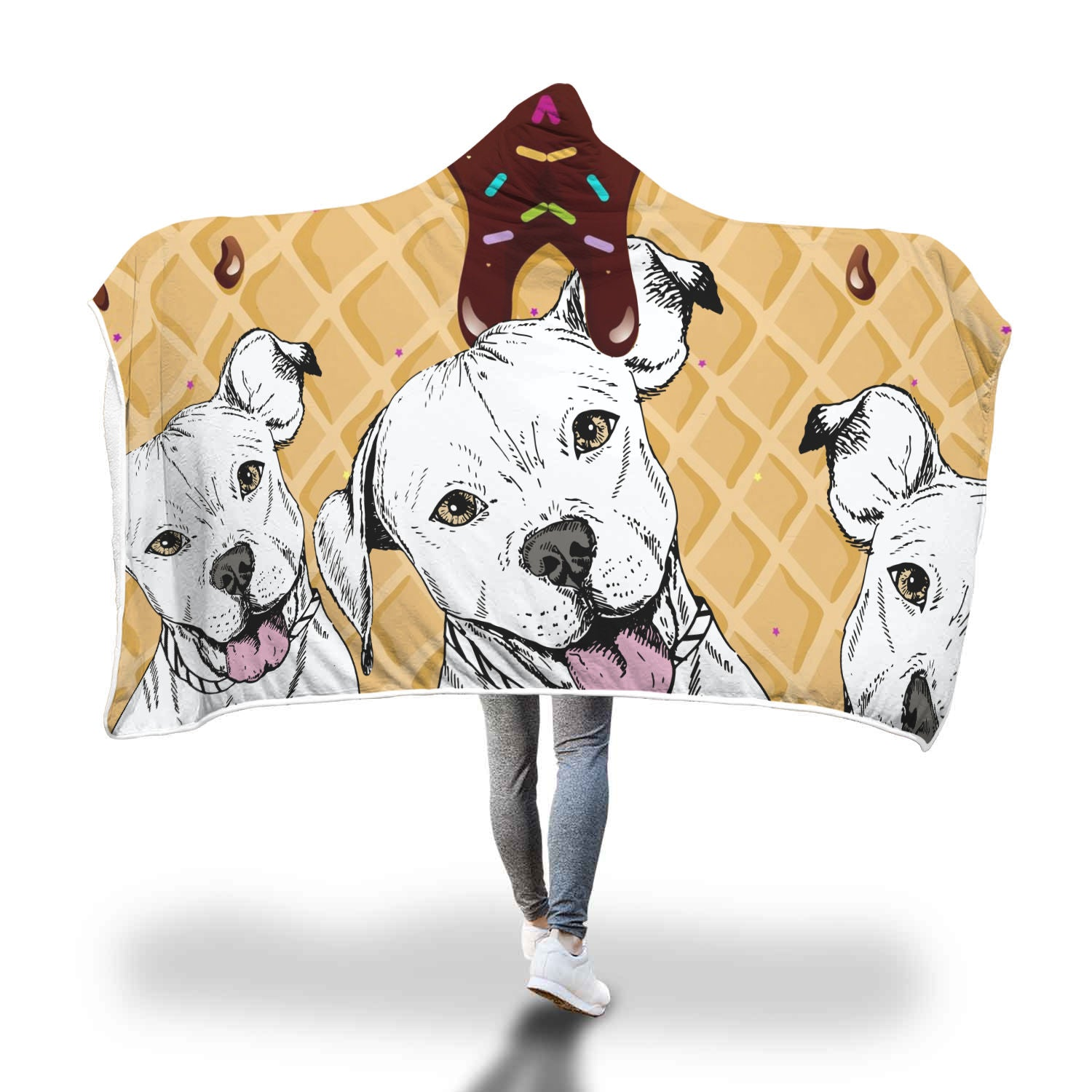 Cool Love Pitbull Hooded Blanket