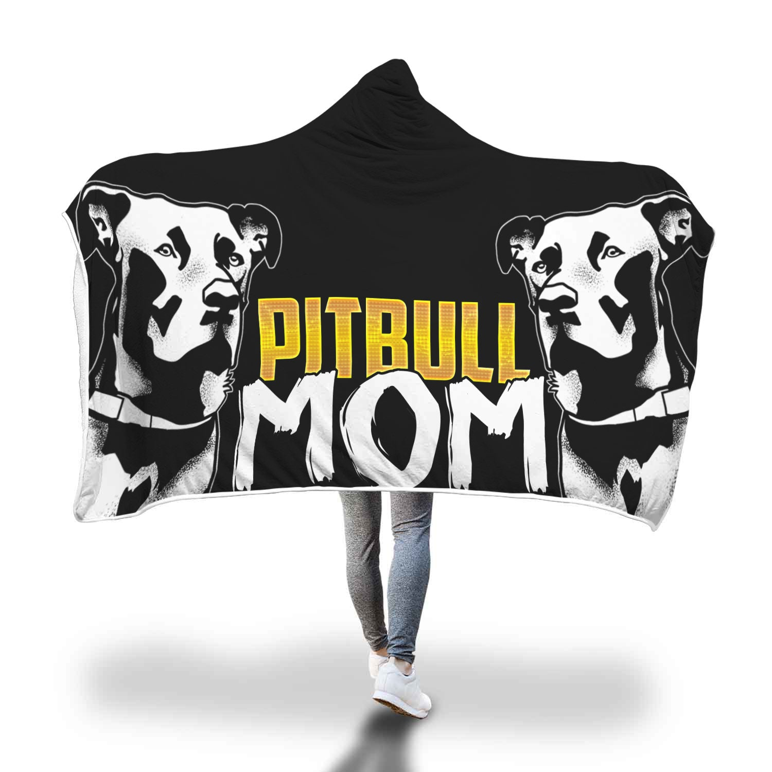 Pitbull Mom Hooded Blankets