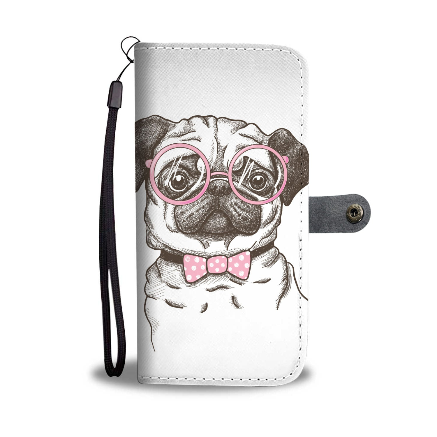 Pug With Glasses Wallet Phone Case - pug bestseller