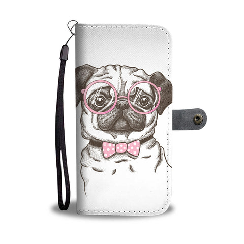Pug With Glasses Wallet Phone Case