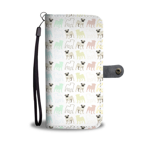 Pug Pattern Wallet Phone Case