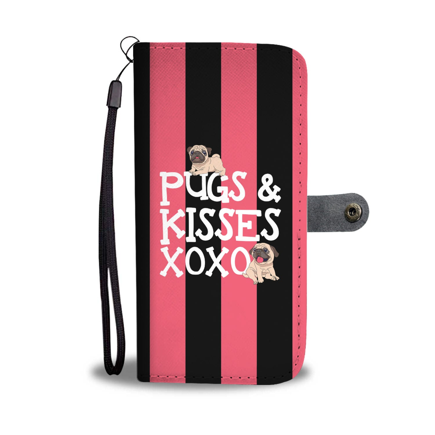 Pugs N Kisses Wallet Phone Case - pug bestseller