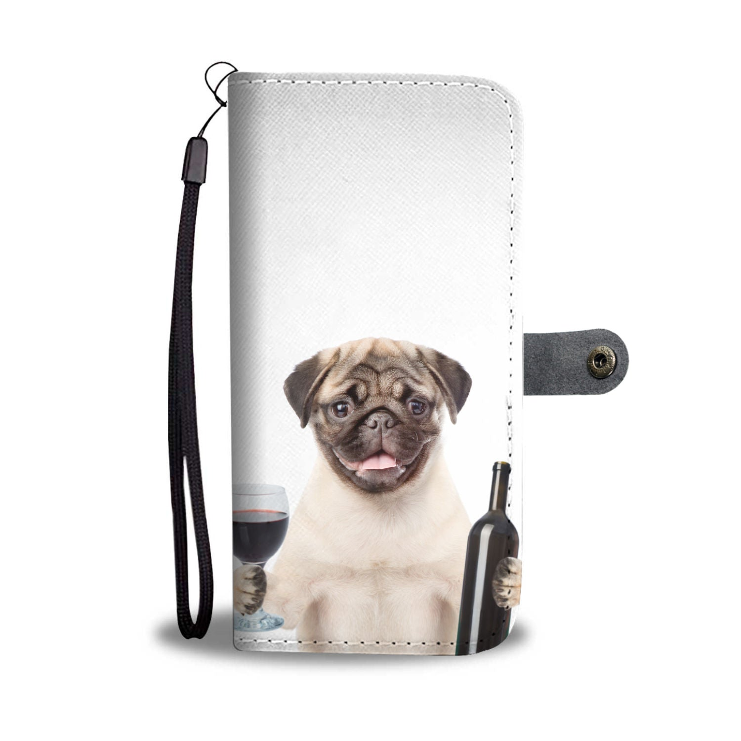 Pug and Wine Wallet Phone Case