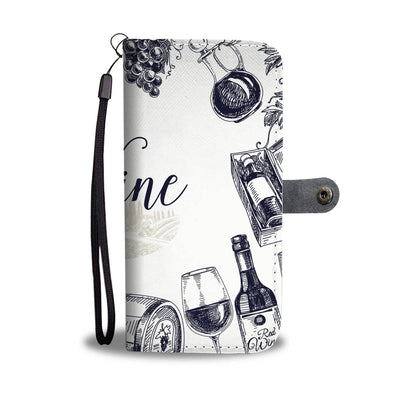 Wine Drawings Wallet Phone Case - wine bestseller