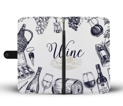 Wine Drawings Wallet Phone Case