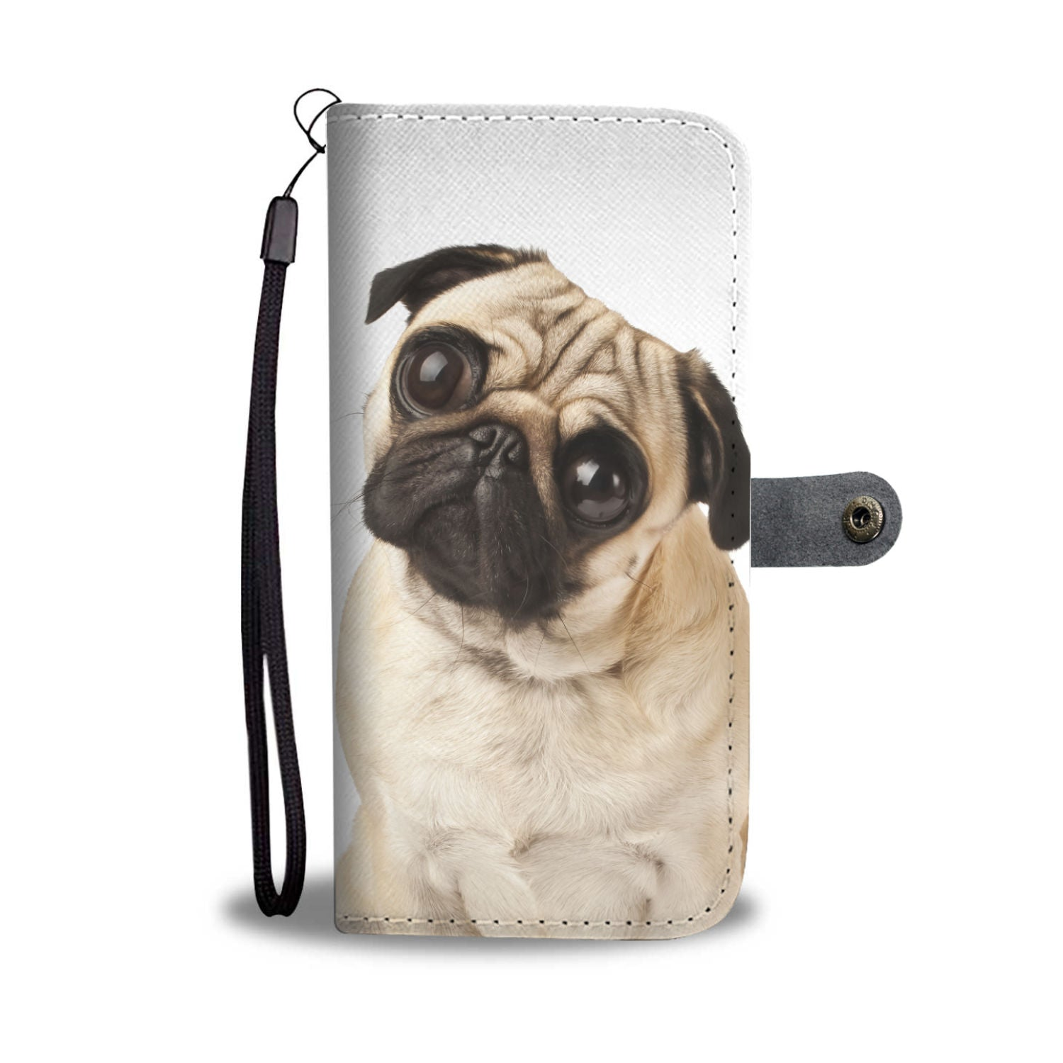 Big Eyed Pug Wallet Phone Case
