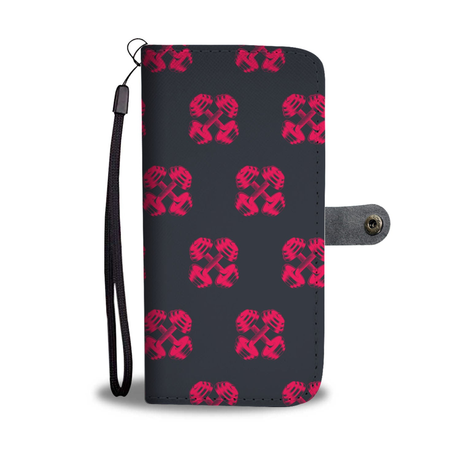 Barbell Pattern Wallet Phone Case
