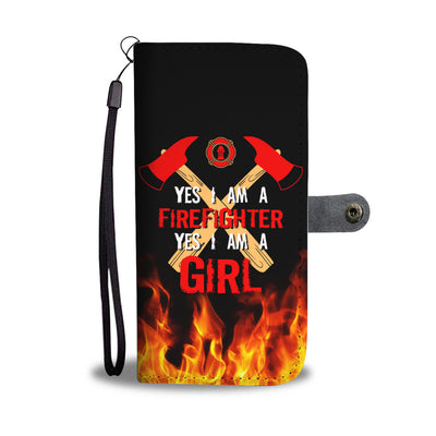 Yes I'm A Firefighter Girl Wallet Phone Case - firefighter bestseller