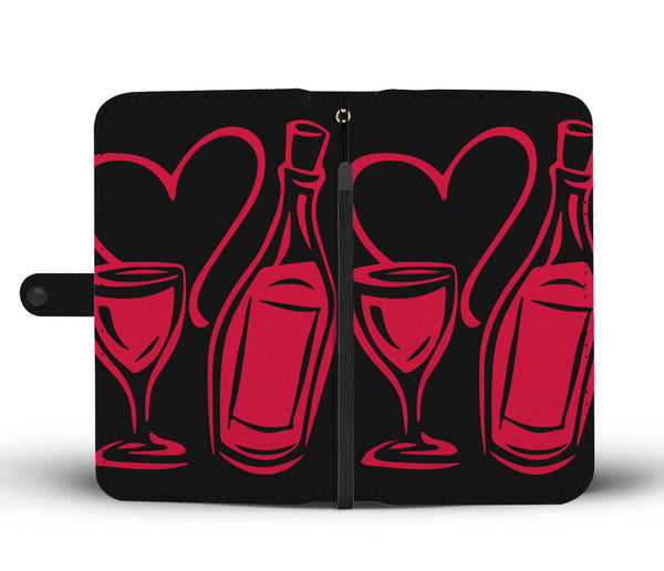 Hearts and Wine Wallet Phone Case