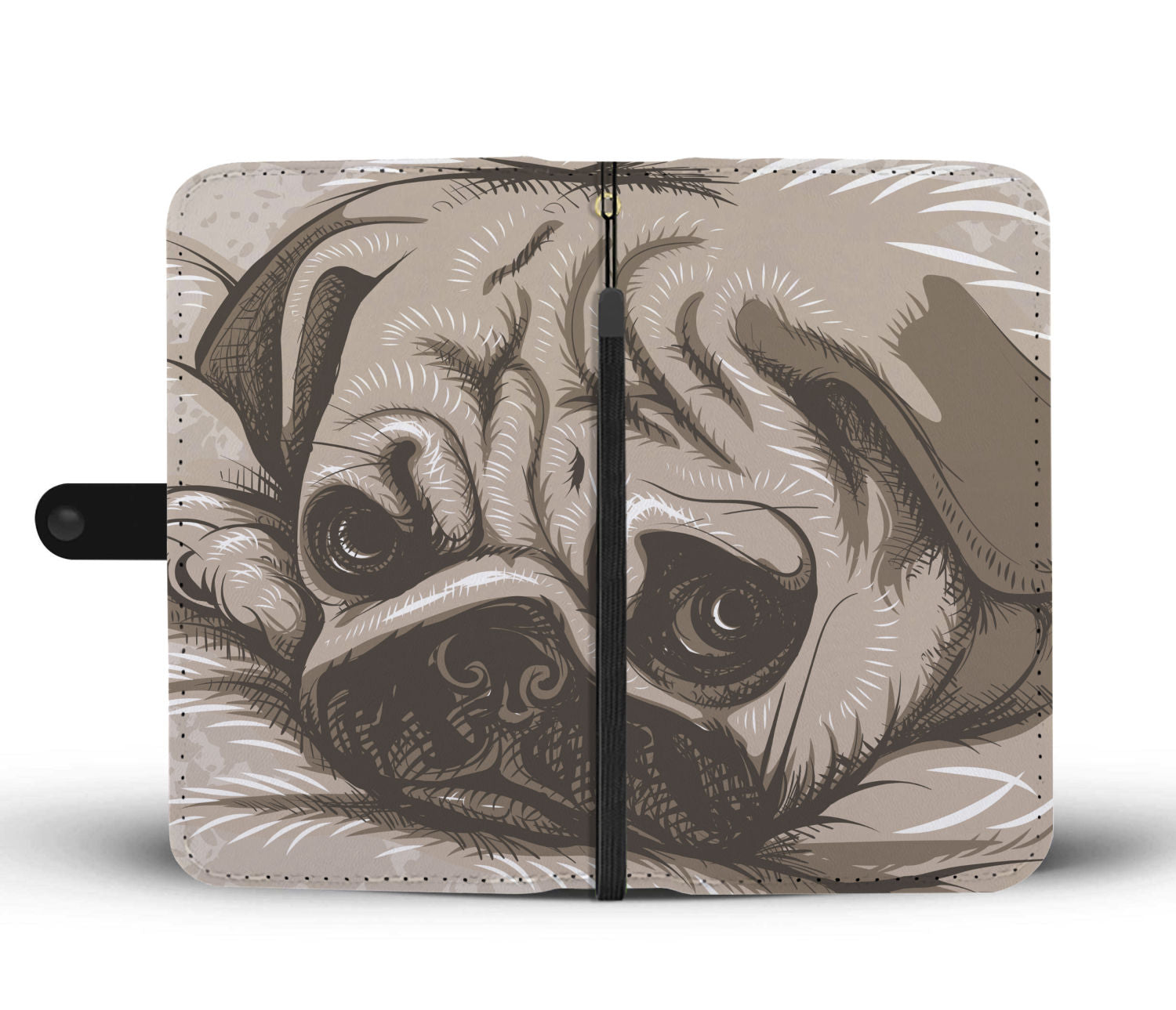 Sleepy Pug Wallet Phone Case