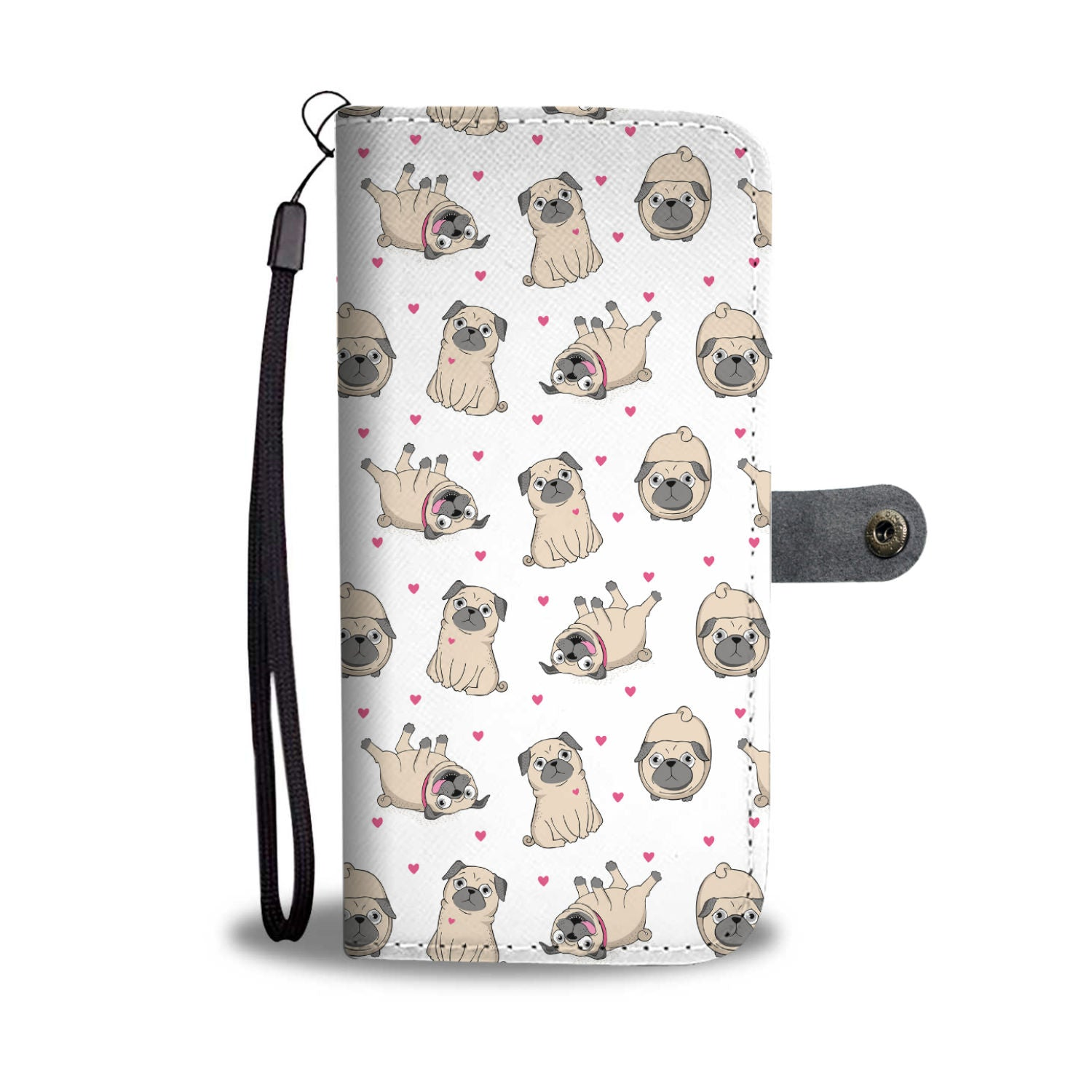 Pugs and Hearts Wallet Phone Case