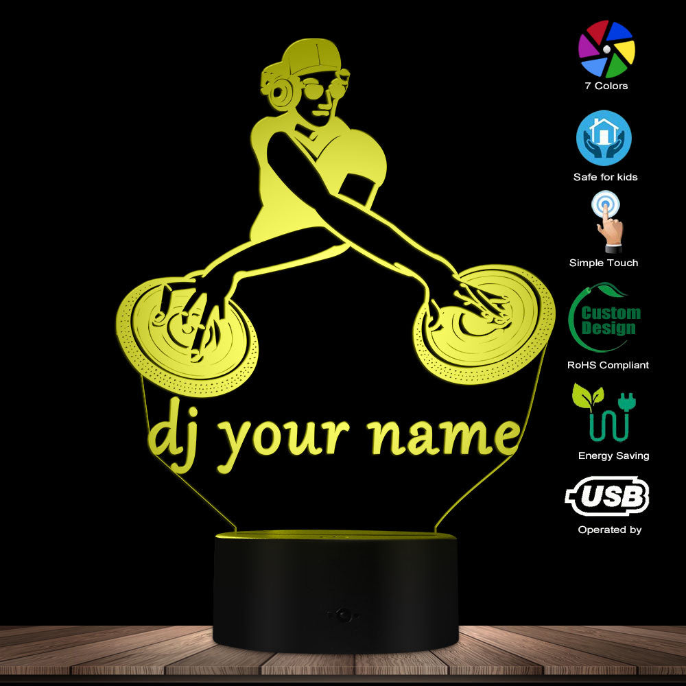 Custom DJ 3D LED Night Light (Mixing Version 02)