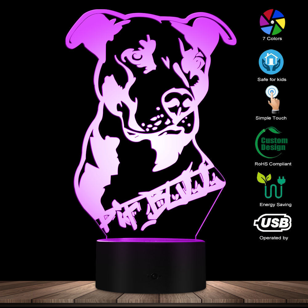 Custom Pitbull 3D LED Night Light