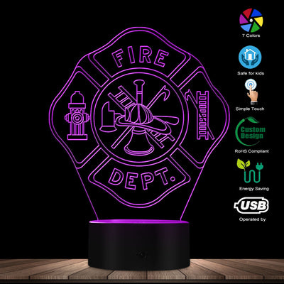 Custom Firefighter Emblem 3D LED Night Light - firefighter bestseller